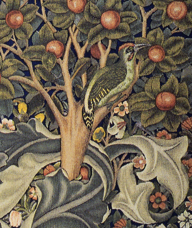 Detail of Woodpecker tapestry designed by Will...