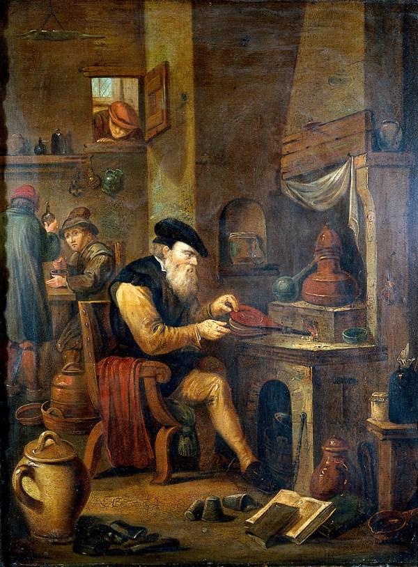 File Alchemist In Laboratory. Oil Painting