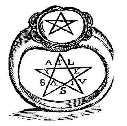 Drawing of a pentagram ring from Crotone, Ital...