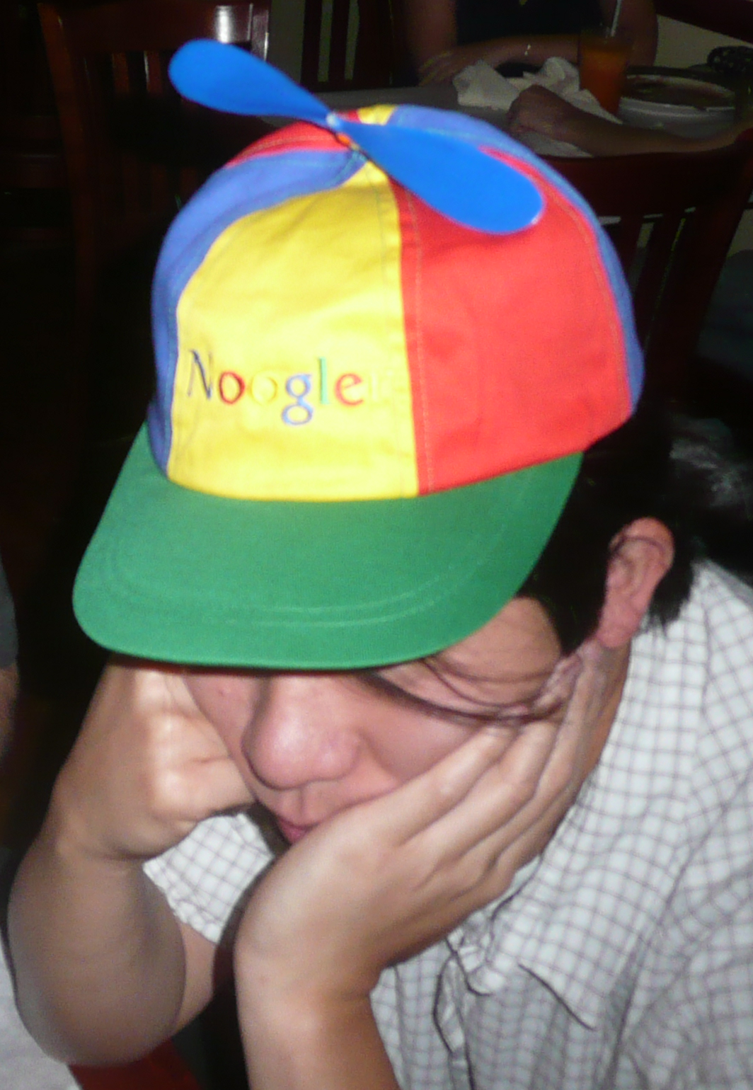 A photo of a Google themed hat saying Noogle