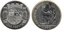 Moneda de 1 peseta de la II República Española