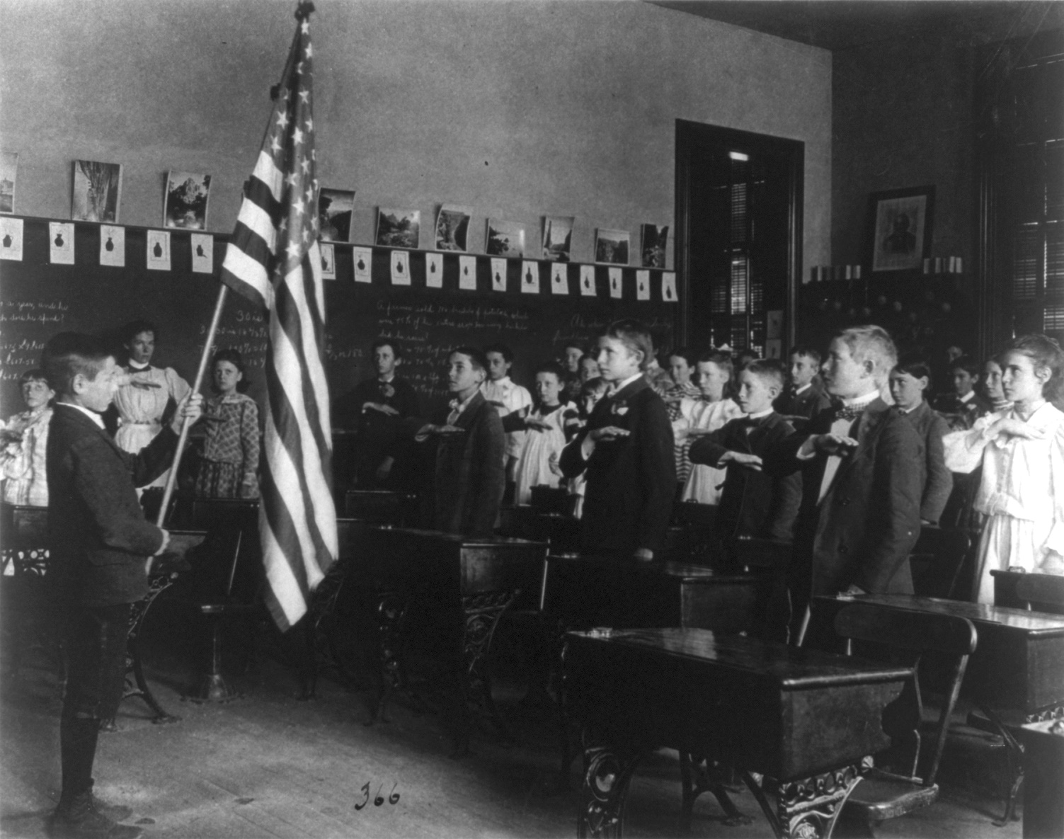 Students pledging to the flag, 1899, 8th Division, Washington, D.C. Part of the Frances Benjamin Johnston 1890 - 1900 Washington, D.C., school survey.