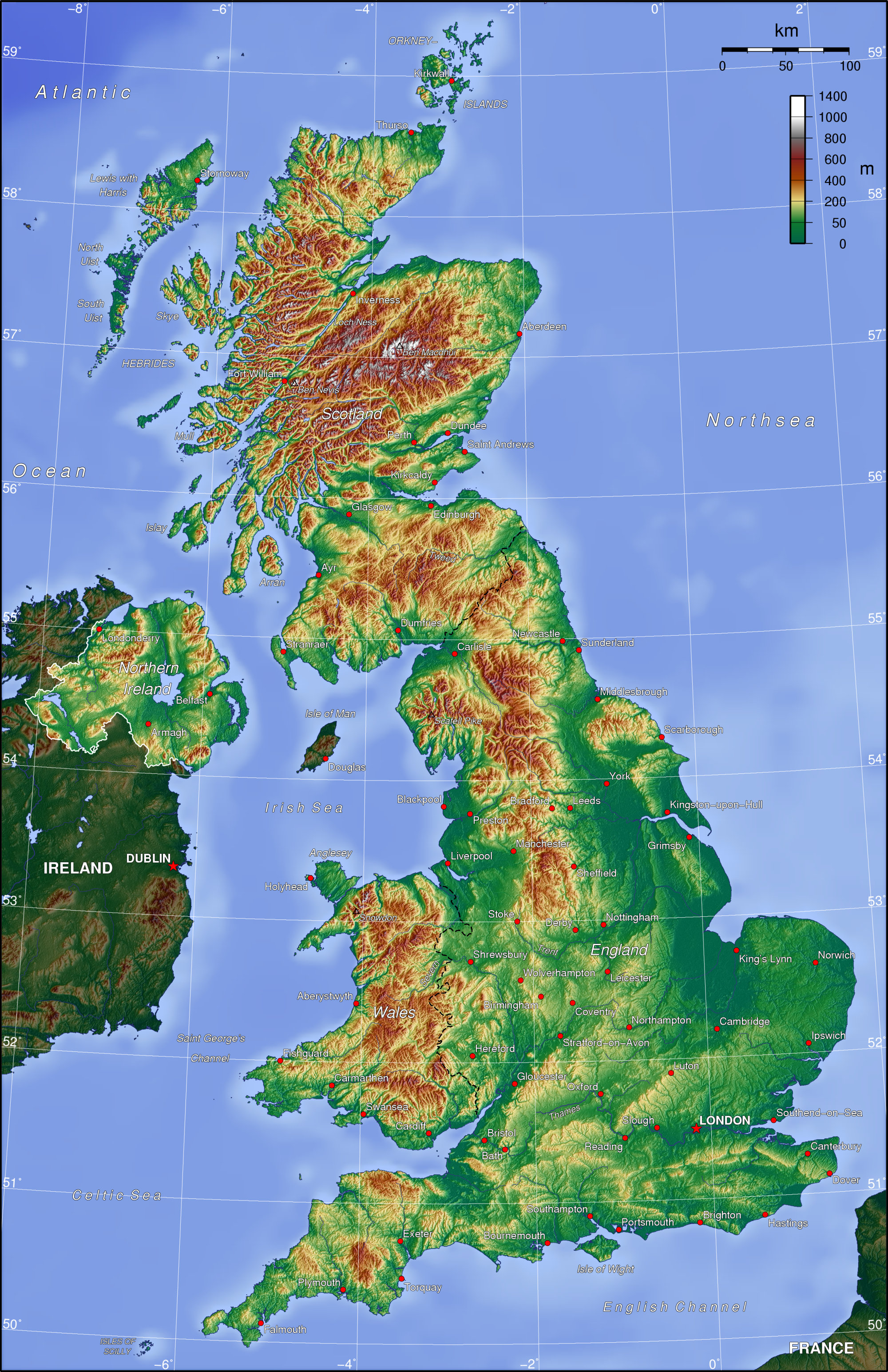 Topographic Map Of The British Isles Map