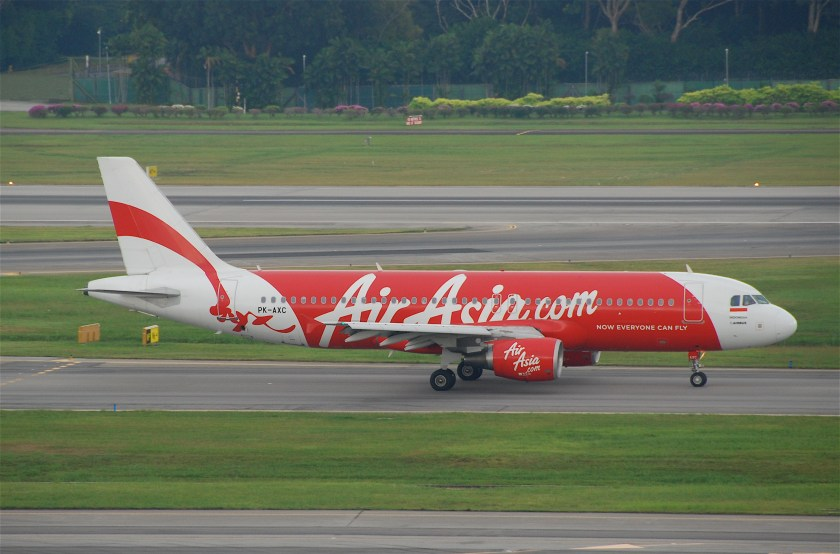 Indonesia AirAsia Airbus A320-216; PK-AXC at Singapore Changi Airport (SIN), 2011 By Aero Icarus from Zürich, Switzerland [CC BY-SA 2.0 (http://creativecommons.org/licenses/by-sa/2.0)], via Wikimedia Commons