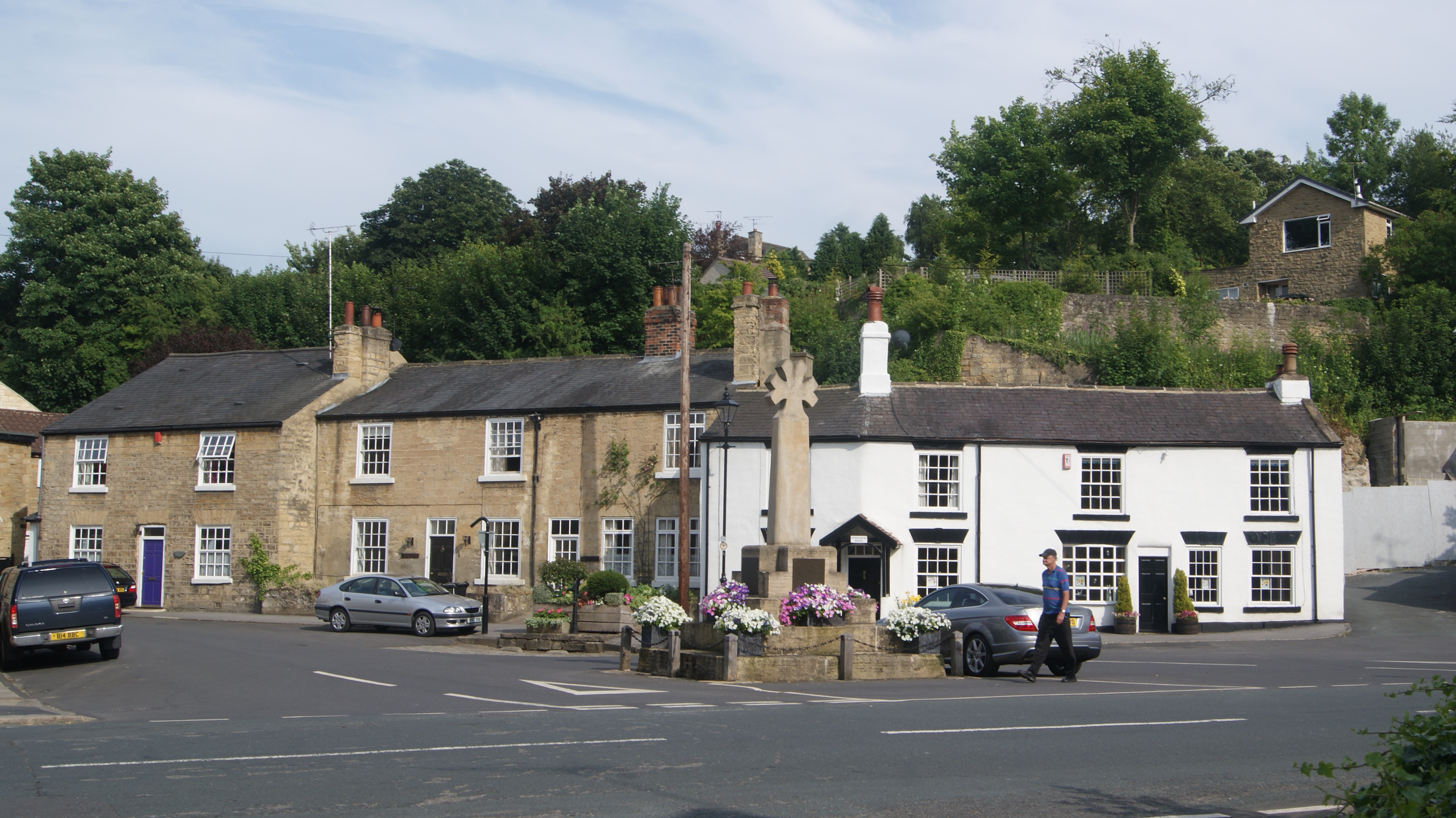 File:Square at the bottom of Town Hill, Bramham, West Yorkshire