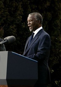 Thabo Mbeki speaks to the media at the Guest Ho...