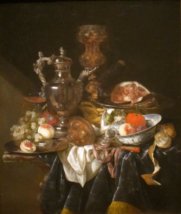 File 'silver Wine Jug Ham And Fruit' Abraham Van
