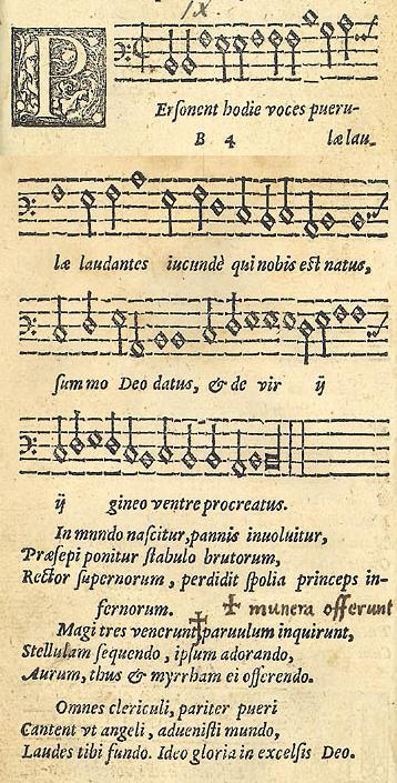 Ensimmäinen sivu Piae Cantioneksesta, 1582. Kuva: Wikimedia Commons.