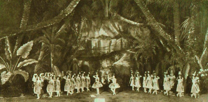 "Photo of a scene from the choreographer Marius Petipa (1818-1910) & the composer Cesare Pugni's (1803-1870) 1862 ballet ""The Pharaoh's Daughter"". The photo shows the Grand pas des chasseresses from Act I of the ballet on the stage of the Imperial Mariinsky Theatre in Petipa's revival of 1898. In the center can be seen the ballerinas (right) Mathilde Kschessinskaya (1871-1970) in the role of the Princess Aspicia, and (left) Olga Preobrajenskaya (1871-1962) in the role of the slave Ramzé."