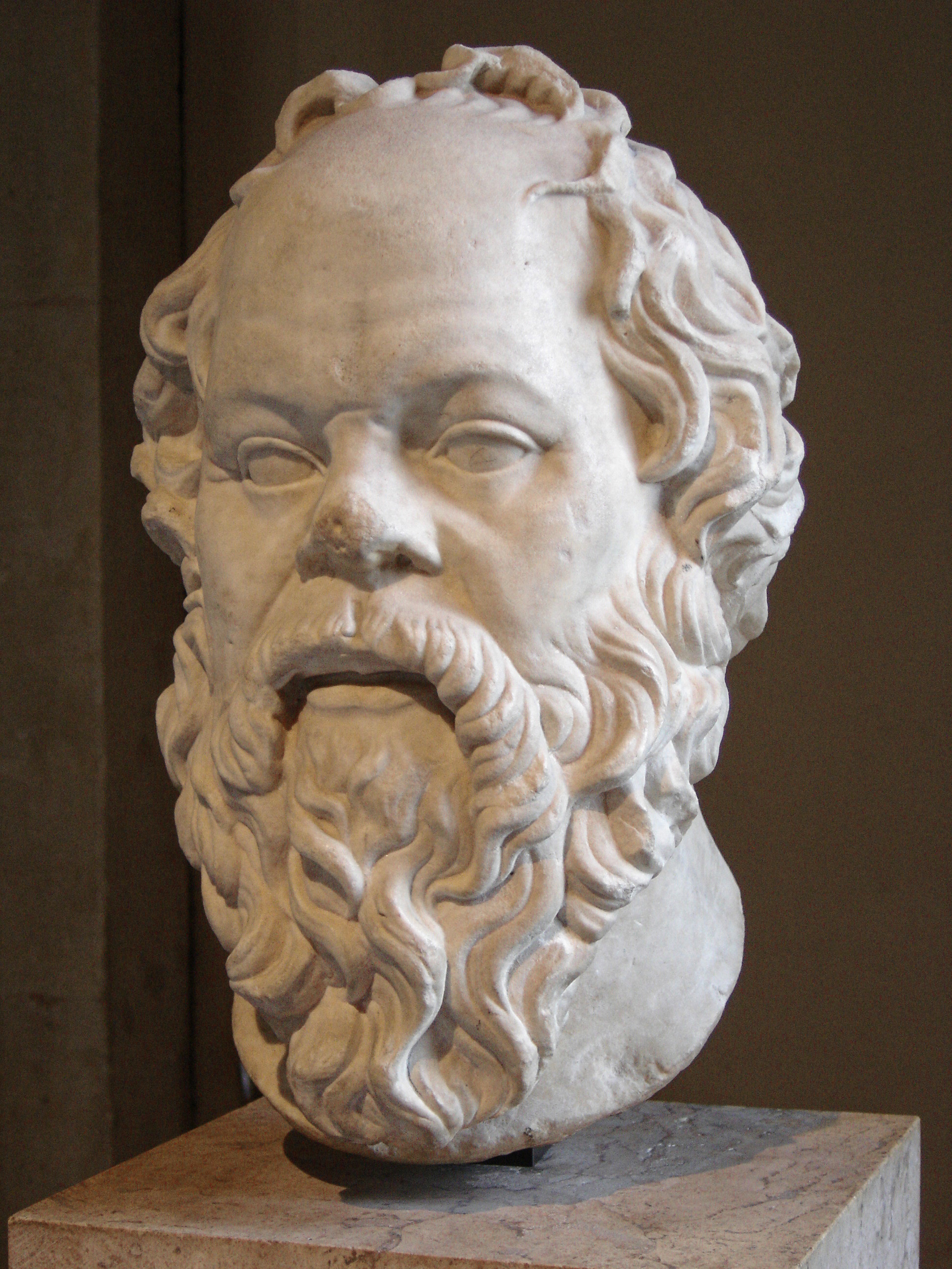 Portrait of Socrates. Marble, Roman artwork (1st century), perhaps a copy of a lost bronze statue made by Lysippos, provided by Wikimedia Commons.