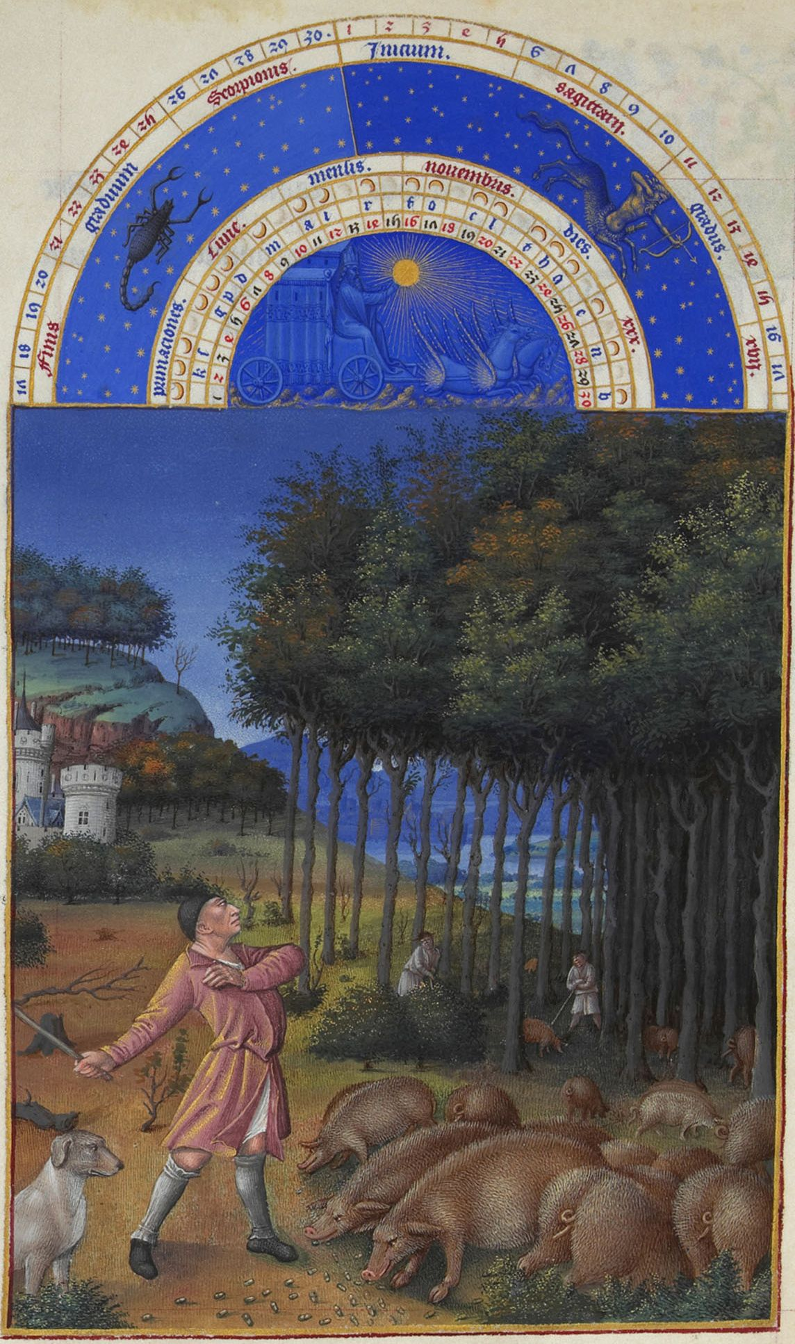 "Limbourg Brothers, ""The Book of Hours."" Pigs grazing in the forest."