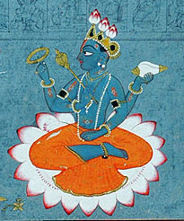 Closeup of Vishnu, seated in the lotus positio...