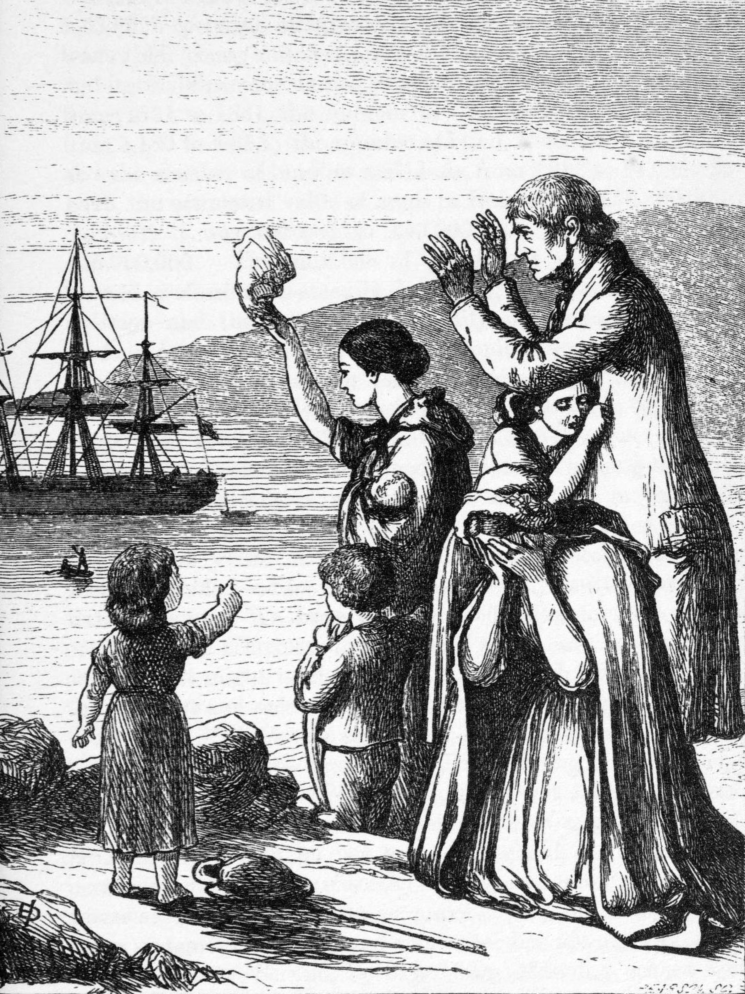 engraving of 'Emigrants leaving Ireland'