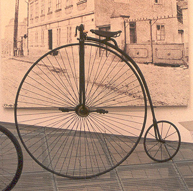 penny farthing bike with big front wheel