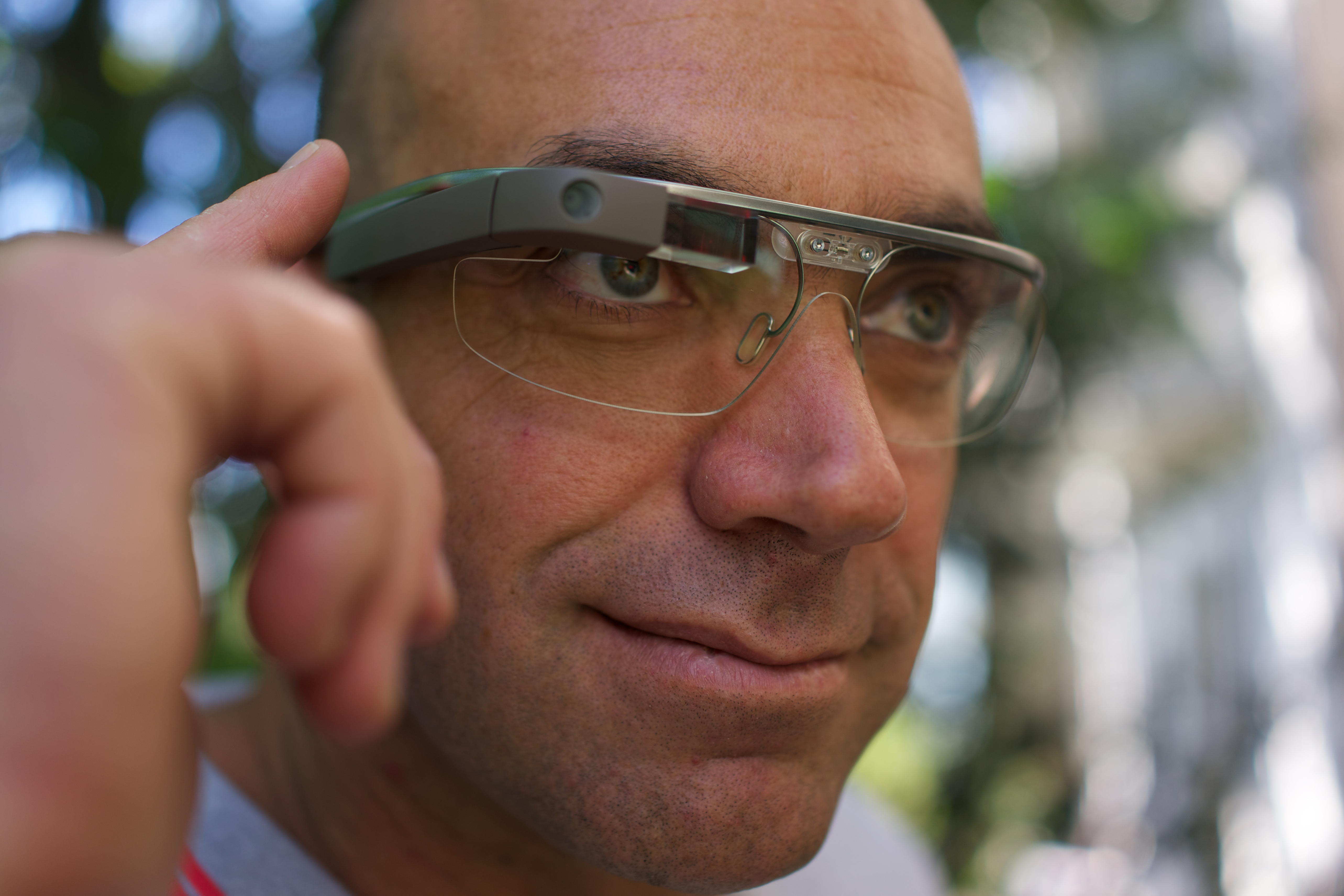 A developer, Loic Le Meu selected for Google Glass explorer edition shows off wearing Google Glass Wikipedia via Flickr