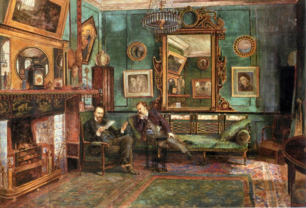 Dante Gabriel Rossetti's Drawing Room at No. 16 Cheyne Walk, 1882, by Henry Treffry Dunn.