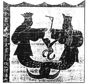 Nuwa and Fuxi as depicted from murals of the H...