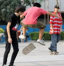 Teen Boys Skateboarding
