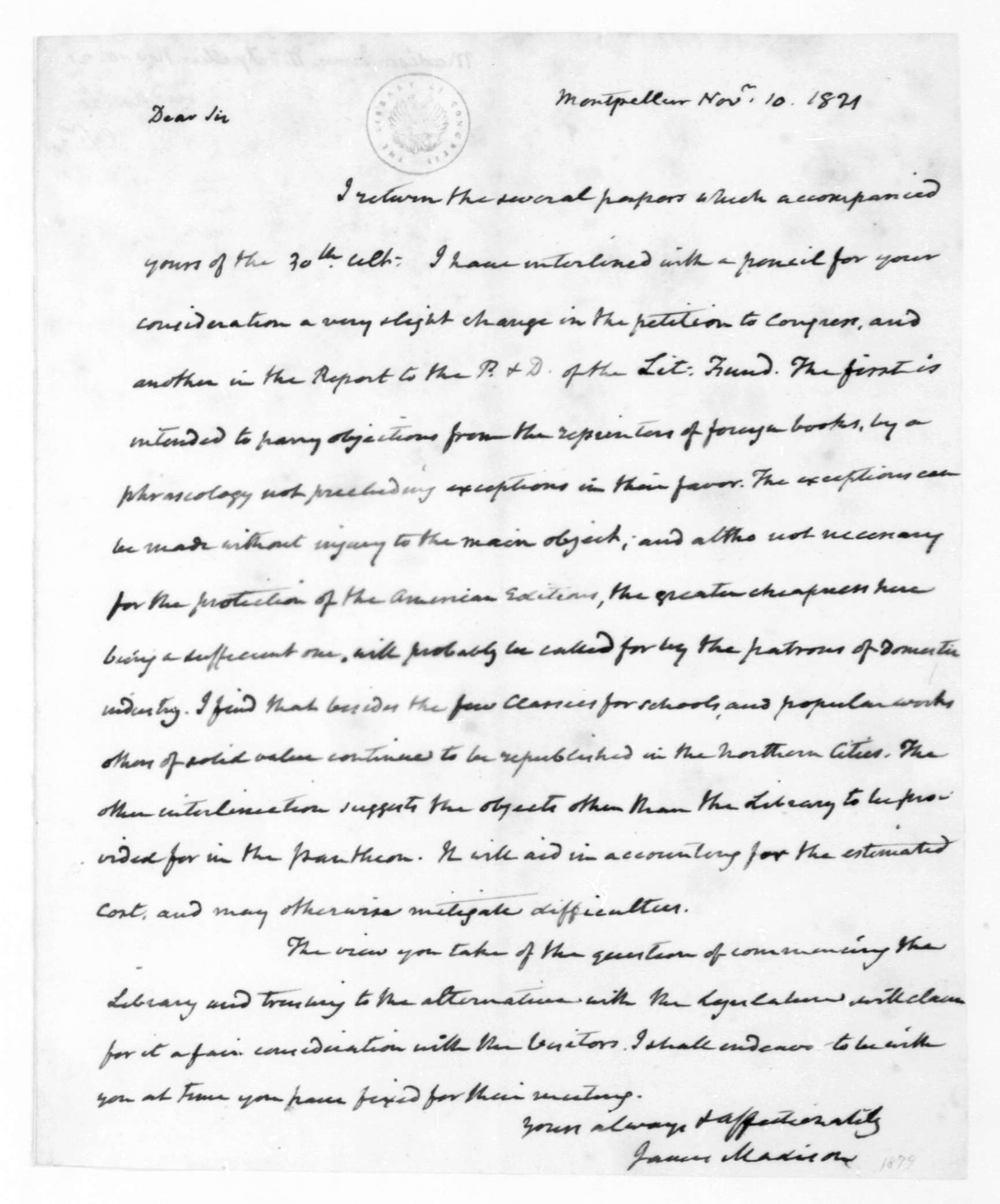 File:James Madison to Thomas Jefferson, 10 November 1821