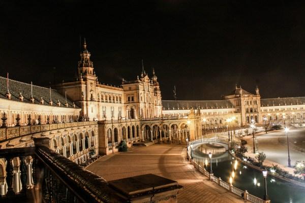 File Plaza De Espa Sevilla. Iluminada