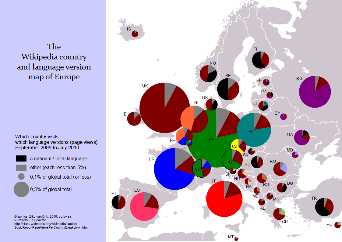 The Wikipedia Country And Language Version Map Of Europe Ziko S Blog