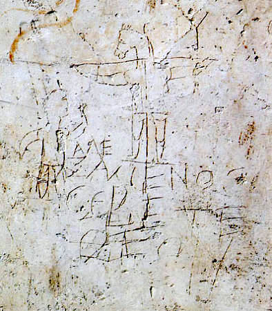 The actual inscription in the plaster wall