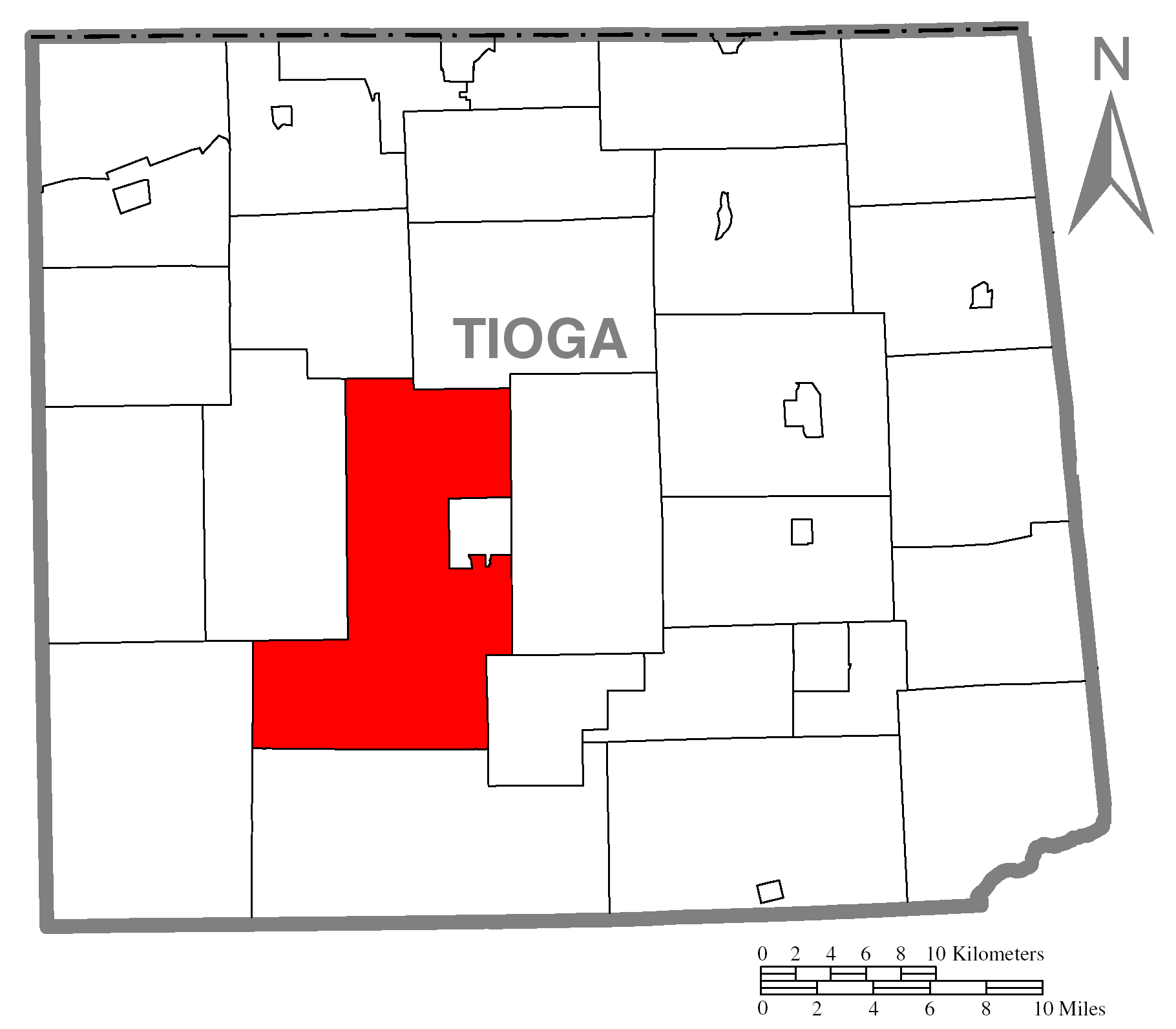 Tioga County Township Map
