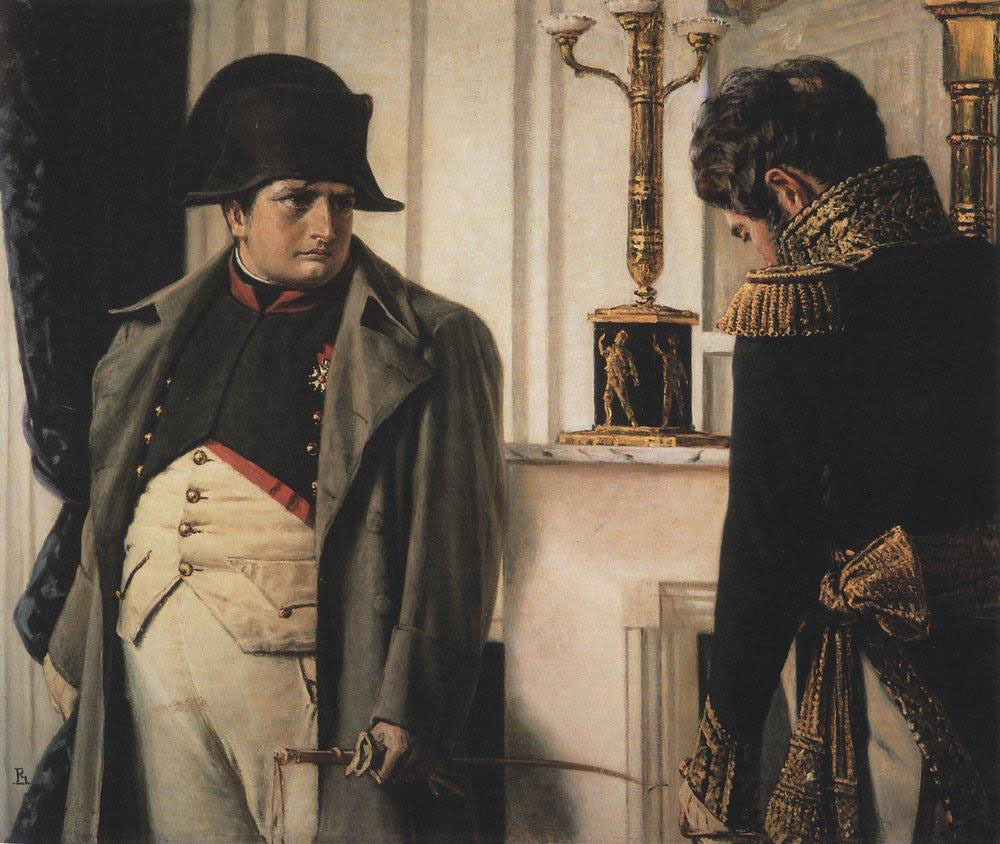 "Vasily Vereshchagin (1842-1904): Napoleon and General Lauriston (""Peace at any cost!"")."