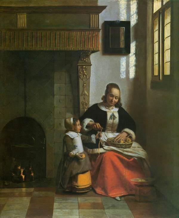 Pieter De Hooch Woman Peeling Apples