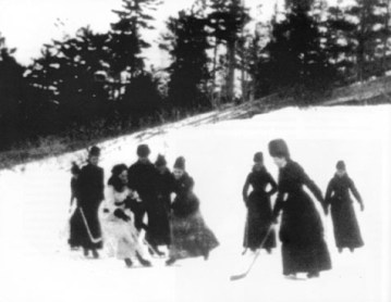 Image of women playing hockey, Isobel Stanley, daughter of Lord Stanley, is seen wearing white, 1888 to 1893, Wikimedia Commons