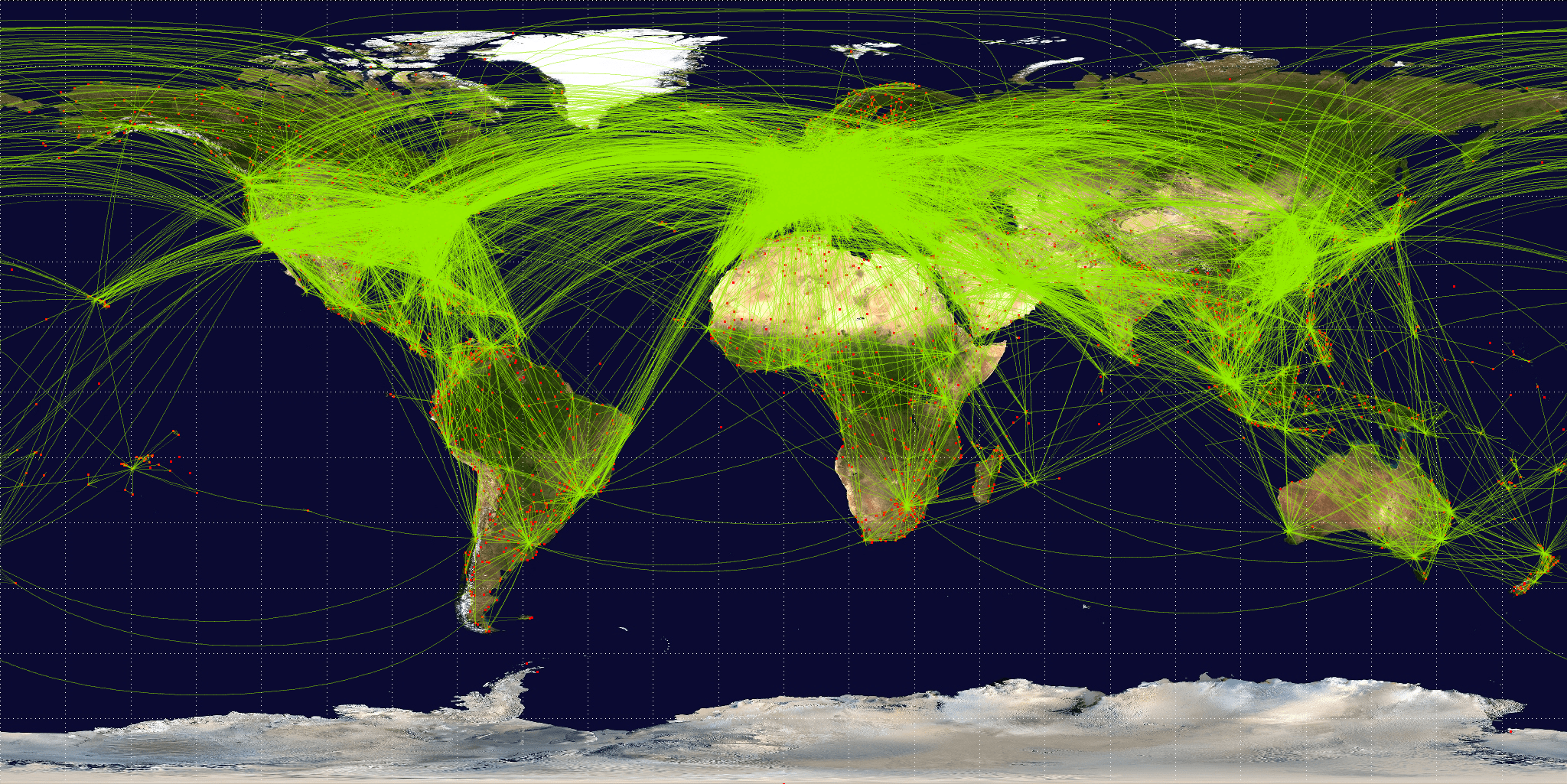 Map of scheduled airline traffic around the wo...