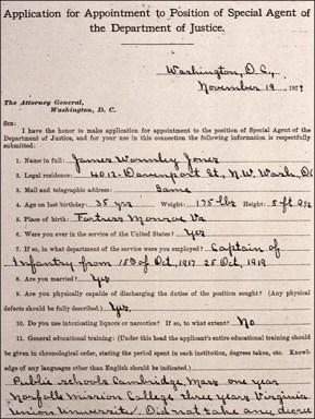 James Wormley jones' Special Agent Application