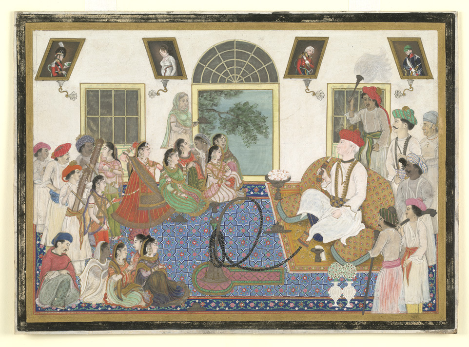 Watercolour of Sir David Ochterlony in Indian attire smoking a hookah in Delhi in the 1820s.