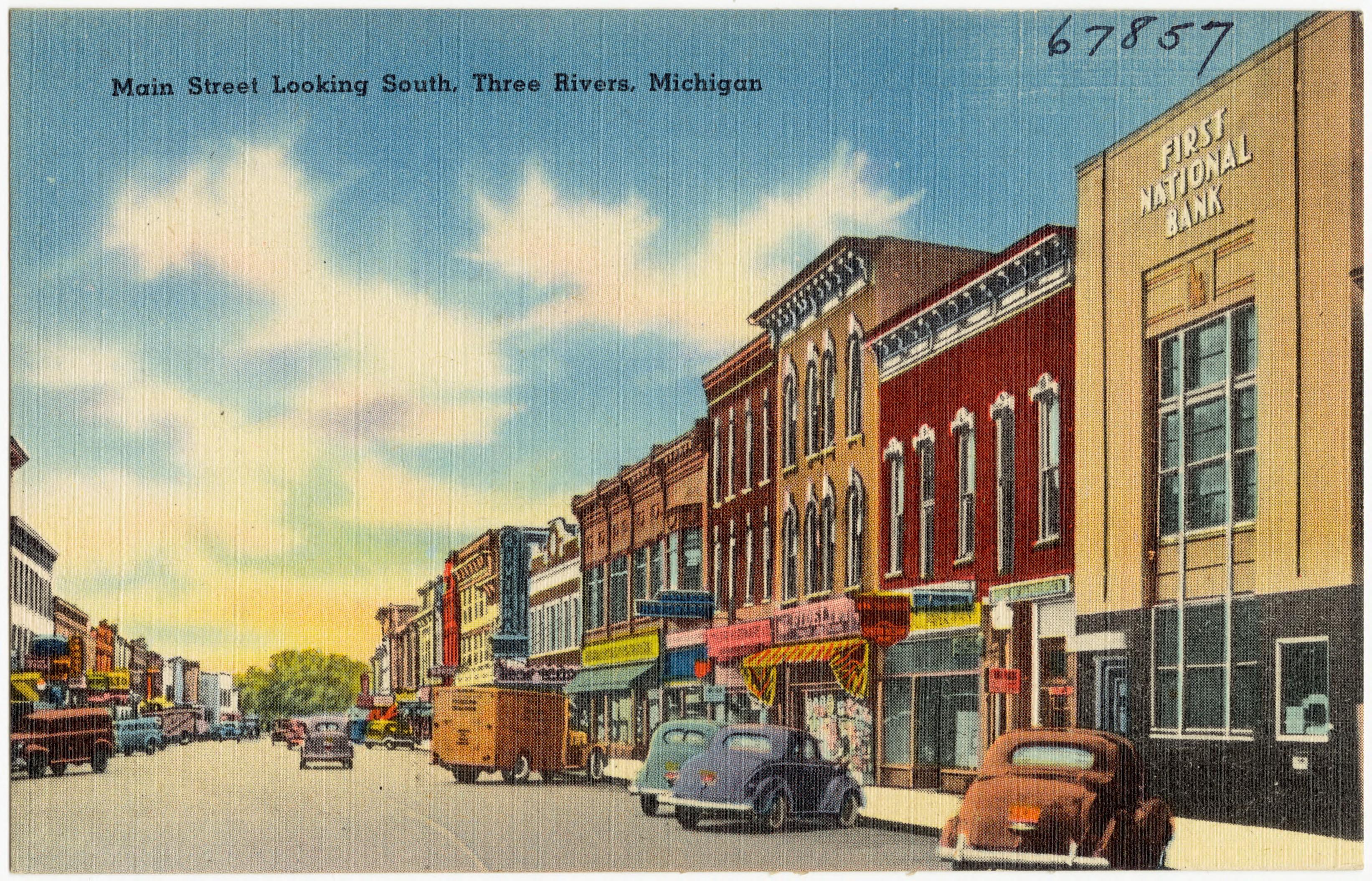 File Main Street Looking South Three Rivers Michigan