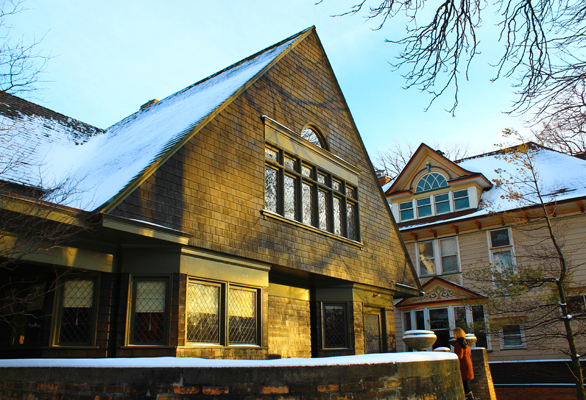 The steep roofs of this style are good for shedding snow: Frank Lloyd Wright's home designed in Arts and Crafts style