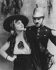 Charlie Chaplin and Edna Purviance in Burlesque on Carmen (1915) is in the public domain