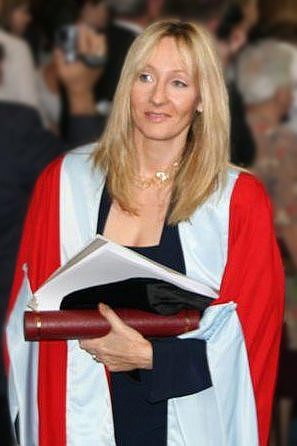 English: J. K. Rowling, after receiving an hon...