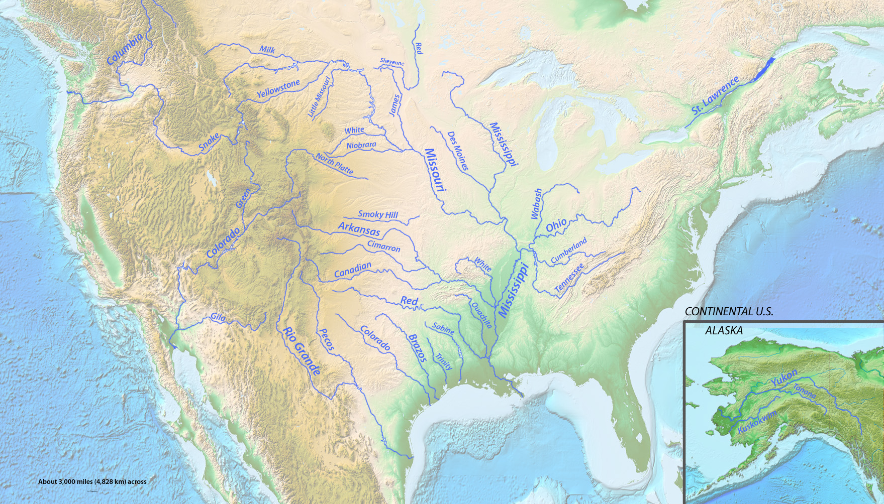 List Of Longest Rivers Of The United States By Main Stem