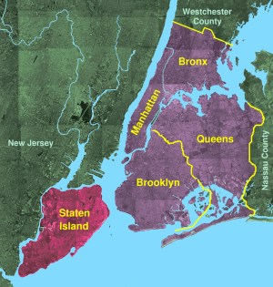 Staten Island, shown with the Five Boroughs © ...