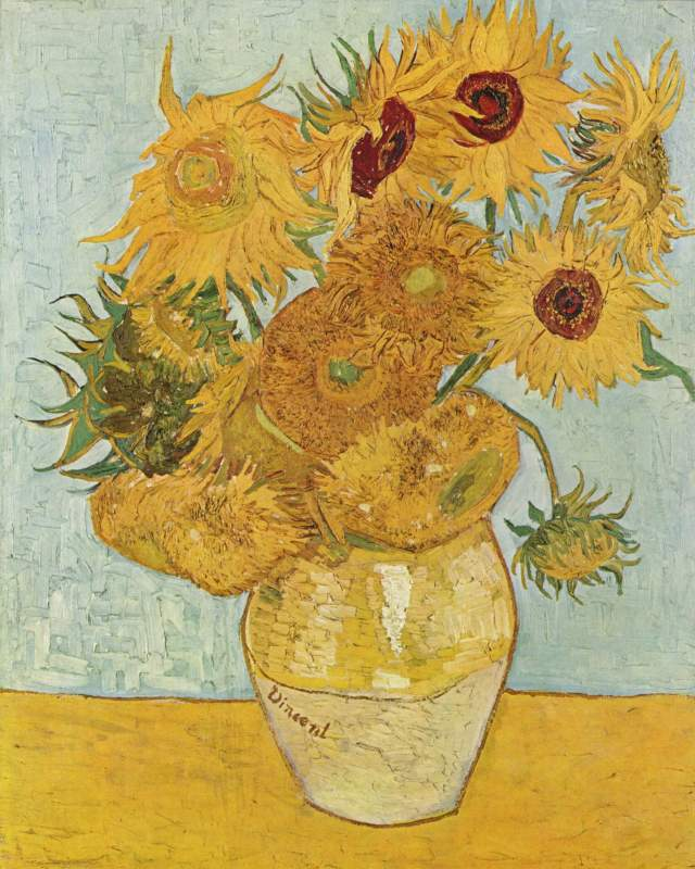Sunflowers (F.456), third version: blue green background