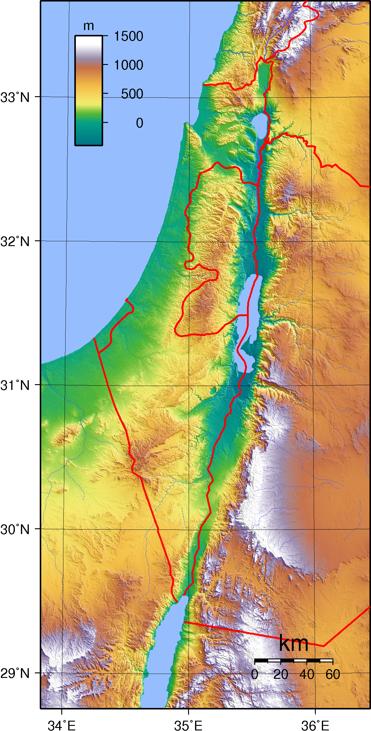 Topographic Map Of Israel And Palestine And Neighboring