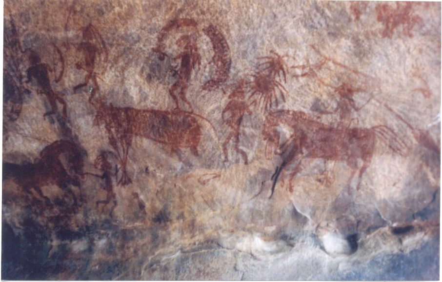 Bhimbetka rock painting, Madhya Pradesh, India (c. 30,000 years old).