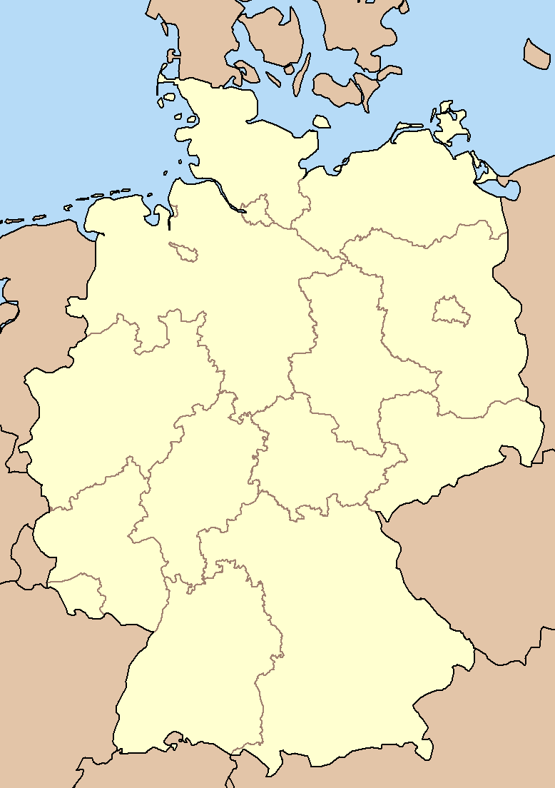 Blank Map Of Germany : blank, germany, File:Blank, Germany, States.png, Wikimedia, Commons