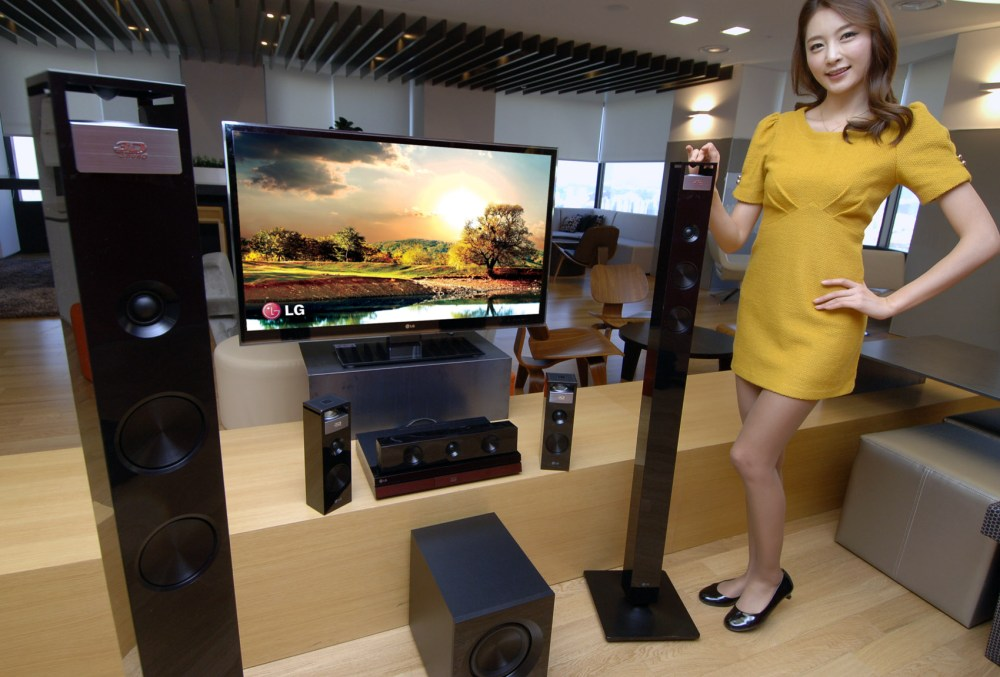 medium resolution of a store display for a home cinema package at a consumer electronics retailer some stores bundle home cinema components into a package which can be