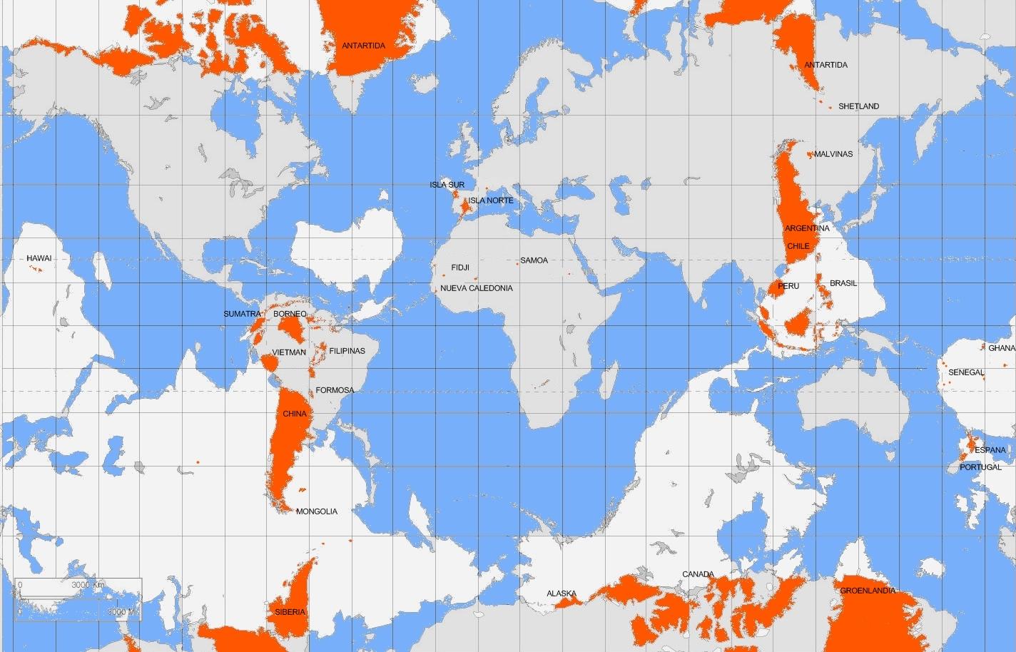 Español: mapa con las antipodas terrestres, co...