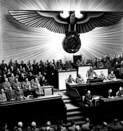 hitler announcing the declaration of war against the united states to the reichstag on 11 december 1941 [ 2048 x 1486 Pixel ]