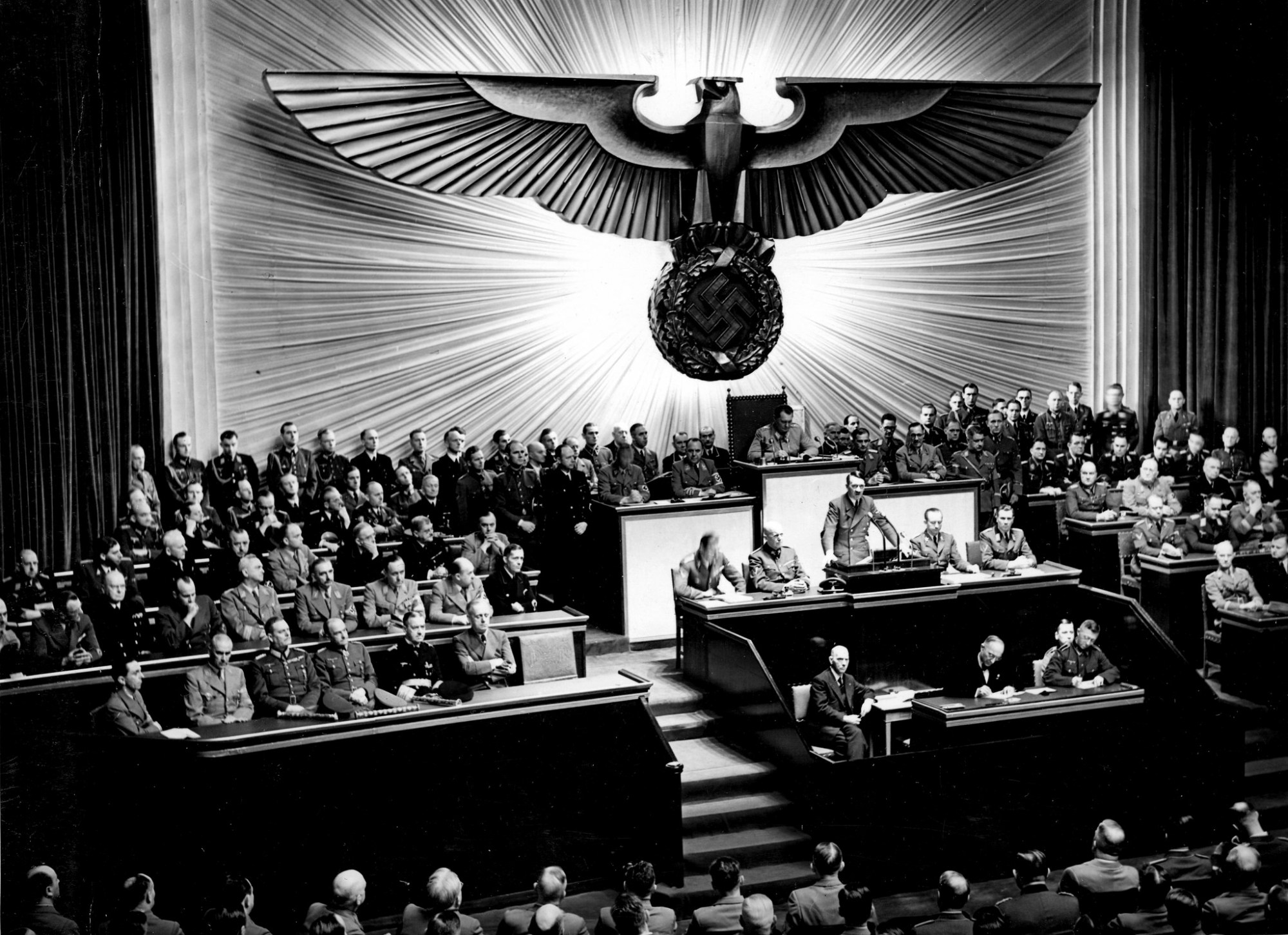 hight resolution of hitler announcing the declaration of war against the united states to the reichstag on 11 december 1941