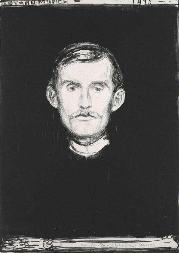 Edvard Munch Self Portrait with Skeleton Arm