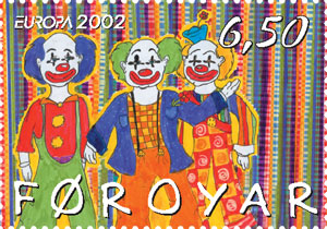clowns on a stamp