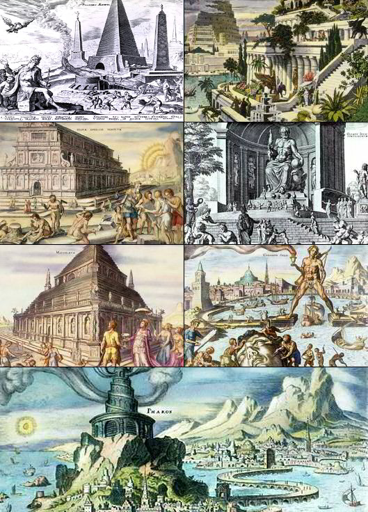 A collage of The Seven Wonders of the (ancient) world, depicted by 16th-century Dutch artist Maarten van Heemskerck.